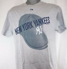 NEW Mens MAJESTIC New York Yankees MLB Grey Vintage Hat Tee T-Shirt