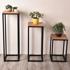 CORNER TABLE STORAGE DISPLAY PLANT STAND METAL BLACK FRAME TIMBER TOP LAMP TABLE