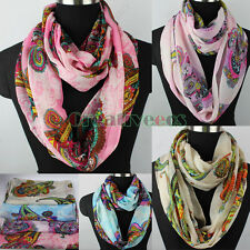 Fashion Women's Multicolor Floral Paisley Chiffon Infinity Circle Loop Scarf New