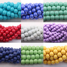 Lots 20/50Pcs Czech Opaque Coated Glass Pearl Round Bead Jewelry Making 10mm