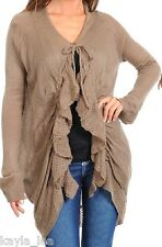 Dk Khaki Ruffle/Tie Front Soft Sweater Knit Long Sleeve Shrug/Cardigan Cover-Up