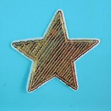 Star Sequins Iron on Sew Patch Applique Badge Embroidered Biker Motor Gold Motif