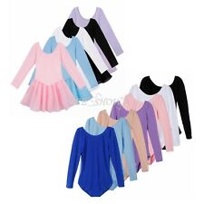 Child Girls ballet Dance Clothes Tutu Dress long sleeved Leotard Kid Dance Wear