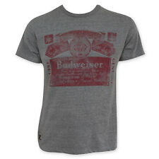 Budweiser Men's Faded Red Label Pop Top T-Shirt Gray