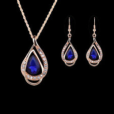 Women Red Blue Inlaid Hook Earrings Pendant Chain Necklace Jewelry Set Bluelans