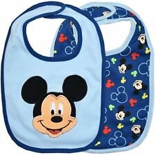 NEW Pack of 2 Genuine Licensed Disney Baby Bibs - Mickey Mouse
