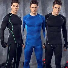 HOT Men's Long Sleeve Compression Base Layer Tops Tight T-Shirts Sport Gear Tops