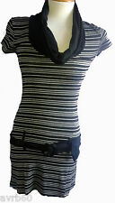 Mini dress or top black and grey striped cowl neck  new
