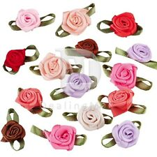 50pcs 12mm Satin Ribbon Rose Flower DIY Craft Wedding Appliques CARN0031