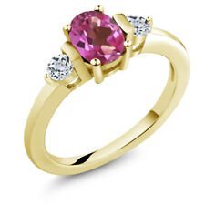 1.08 Ct Oval Pink Mystic Topaz White Topaz 14K Yellow Gold Ring
