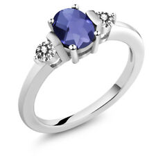 0.85 Ct Oval Checkerboard Blue Iolite White Diamond 925 Sterling Silver Ring