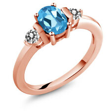 1.05 Ct Oval Swiss Blue Topaz White Diamond 18K Rose Gold Plated Silver Ring