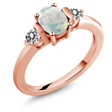 0.83 Ct Oval Cabochon White Simulated Opal White Diamond 18K Rose Gold Ring