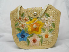 Vintage Bags by Whidby Handmade Raffia Purse Bag Straw Flowers Retro