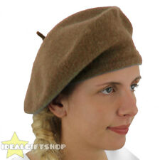 LADIES BROWN BERET VINTAGE FRENCH CAP FANCY DRESS COSTUME HAT FRENCH FASHION