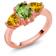 2.15 Ct Oval Green Peridot Yellow Citrine 18K Rose Gold Plated Silver Ring