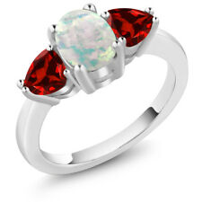 2.13 Ct Oval Cabochon White Simulated Opal Red Garnet 925 Sterling Silver Ring