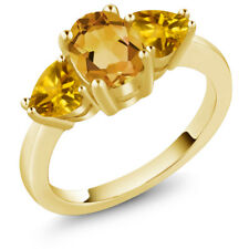 2.12 Ct Oval Yellow Citrine 18K Yellow Gold Ring
