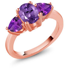 1.80 Ct Oval Purple Amethyst 18K Rose Gold Ring