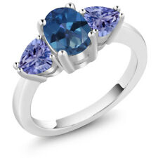 2.10 Ct Oval Blue Mystic Topaz Blue Tanzanite 14K White Gold Ring