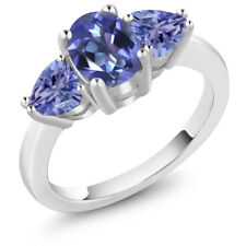 2.10 Ct Oval Blue Mystic Topaz Blue Tanzanite 18K White Gold Ring