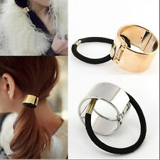 Unique Women Hair Cuff Wrap Ponytail Metal Holder Ring Tie Elastic Hair Band