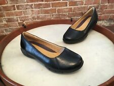 Clarks Unstructured Black Leather  Un Hearth Slip on Ballet Flats NEW