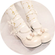 Sweet Dolly Lolita Cute Bow Pearl VINTAGE Princess Wedge High Heel Sandal Shoes