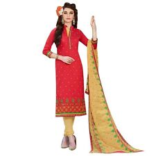 Designer Cotton Embroidered Readymade Salwar Kameez Heavy Dupatta-Naaz-7452
