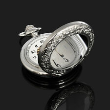 Magnifier Glass Function Silver Color Skeleton Mens Automatic Pocket Watch