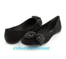 Black Faux Suede Beaded Bow Accent Awesome Cutie Round Toe Ballet Flats