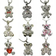 Silver Teddy Bear Necklace Pendant Chain Heart Crystal Animal Costume Jewellery