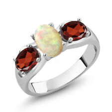 1.51 Ct Oval Cabochon White Ethiopian Opal Red Garnet 925 Sterling Silver Ring