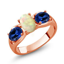1.51 Ct Ethiopian Opal Blue Simulated Sapphire 18K Rose Gold Plated Silver Ring