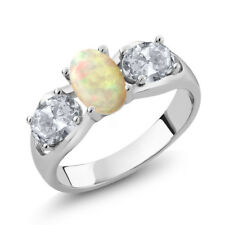 1.51 Ct Oval Cabochon White Ethiopian Opal White Topaz 925 Sterling Silver Ring