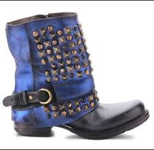 Biker Womens Vogue Real Leather Punk Rivets Studs Ankle Boots Motorcycle Shoes