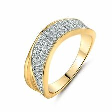 Gift! 18k Multi-Tone Gold White Round Brilliant Topaz women's' band ring Sz6-Sz9