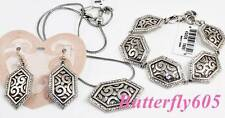 Brighton DECO LUXE Bracelet Necklace French Wire Earrings Set - NWT Pouch