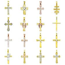 Two Tone 14K Gold Cross Charm Pendant Jewelry
