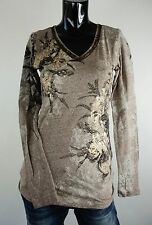 NEW MISS ME SHIRT  S-M-L JMT1336 MOCHA LONG SLEEVE W/ FLOWER DETAIL AT FRONT *