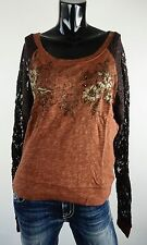 NEW MISS ME SHIRT S-M-L JMT818 RUST LONG SLEEVE W/ LACE SLEEVES AND DETAIL  *