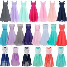 New Flower Girls Dress Chiffon Lace Gown Birthday Party Summer Dress Size 4-14