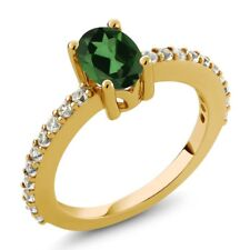 Emerald Envy Mystic Topaz Created Sapphire 18K Yellow Gold Plated Silver Ring