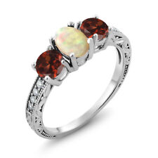 1.73 Ct Oval Cabochon White Ethiopian Opal Red Garnet 925 Sterling Silver Ring