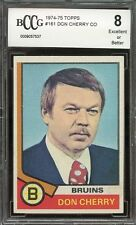 1974-75 topps #161 DON CHERRY CO boston bruins rookie card BGS BCCG 8
