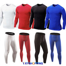 Mens Compression Shirt Top Long Pant Base Layer T-shirt Skins Workout Sportswear
