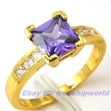 Size 7,8 Ring,REAL PURPLE 1Ct GEMSTONE 18K YELLOW GOLD GP SOLID FILL GEP GIFT