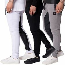Mens Casual Street Wear Jogging Bottoms PU Contrast Sweat Pants F&H Sizes S-XL