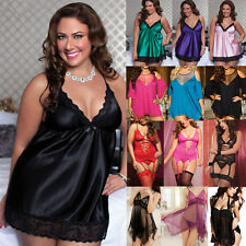 New Women Lingerie V Neck Dress Babydoll Underwear Sleepwear+G-string Plus Size