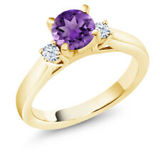 0.92 Ct Round Purple Amethyst 18K Yellow Gold Plated Silver 3-Stone Ring